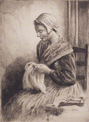 A Breton Girl Sewing