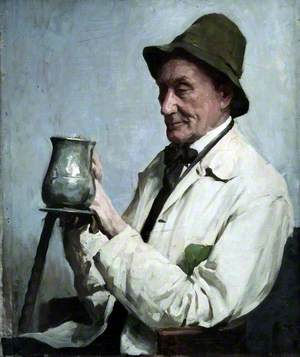 Man Wearing a Hat and Holding a Tankard