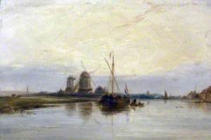 Dutch River Scene with Barges
