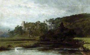 A View of the South East Elevation of Haddon Hall in Derbyshire from the River Wye