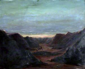 Mountainous Landscape with Camel Riders in a Valley at Sunset