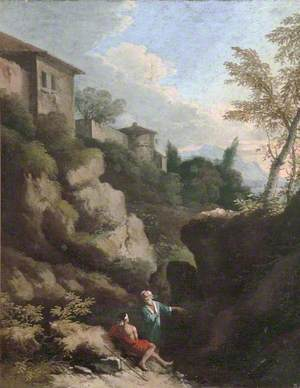 Italian Landscape with Figures in a Rocky Valley