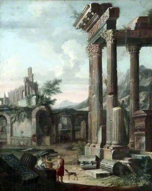 Classical Ruins with Figures in the Evening