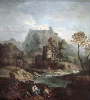Classical Landscape with a Hill Town and a Shepherd Family