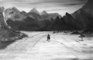 Mountainous Desert Landscape with Camel Riders
