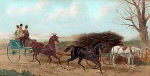 Horse and Trap Passing a Horse and Cart