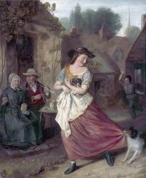 Village Scene with a Girl Carrying a Puppy