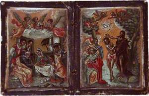 Icon Depicting the Visitation of the Shepherds and the Baptism of Jesus