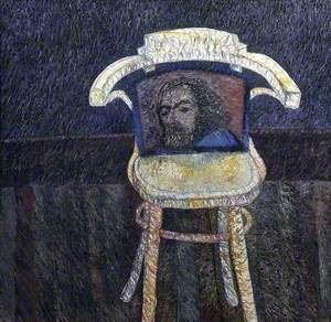 Café Chair with a Cushion Bearing a Man's Face