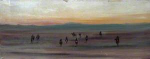 Desert Landscape with Camel Riders at Sunset