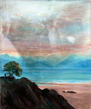 Landscape with a Rocky Mountaintop and Figures under a Tree Overlooking a Bay with Distant Mountains
