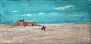 Desert Landscape with a Remote Building, Figures and Horses