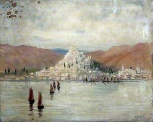 Landscape with a Hillside Town and Mountains Overlooking Water and Boats