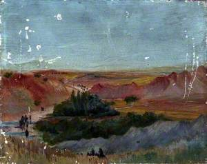 Mountainous Desert Landscape with an Oasis and Figures