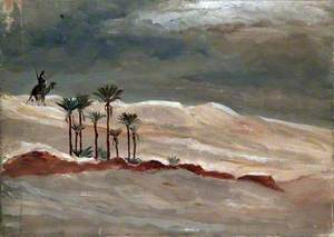 Desert Landscape with a Camel Rider, Palm Trees and Stormy Sky
