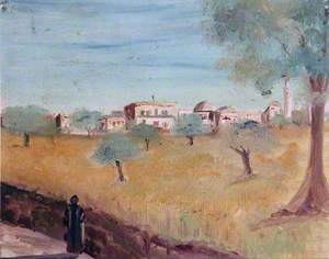 Landscape with a Village and Olive Trees