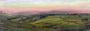 Landscape with Green Fields, a Distant Hilltop Village and a Pink Sky