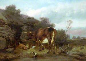 Rural Scene with a Cow and Poultry