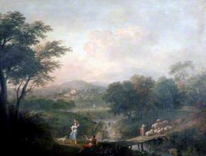 Landscape with Figures and Sheep on a Bridge