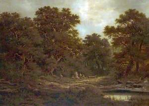 Woodland Scene with Charcoal Burners