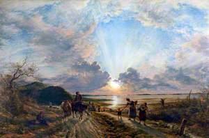 Estuary Scene with Setting Sun