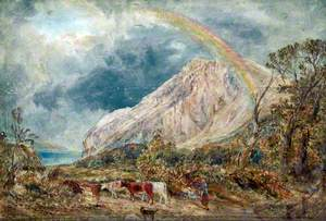 Landscape with a Rainbow and Cattle