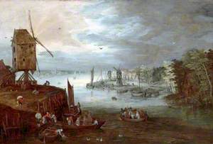 Dutch Landscape with Windmills and Boats