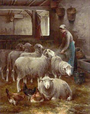 Woman with Sheep in a Barn