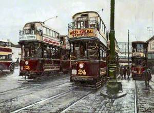 Trams at Woodside, Wirral
