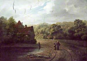 Pond and a Cottage, a Woman and a Child