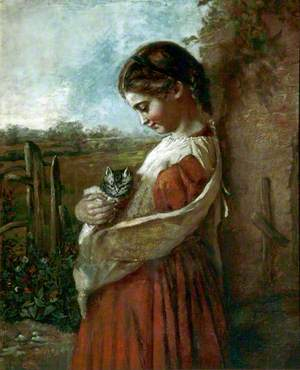 Young Girl with a Cat (Nursery Rhyme)