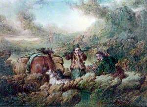 Landscape (Two Men with Dogs and Horses)