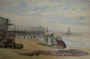 Beach Scene with Jetty and Boats
