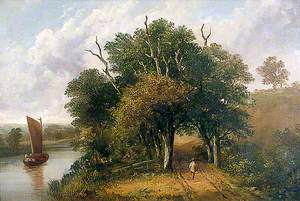 Landscape with a Tree-Lined Road, a River and a Barge