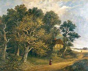 Wooded Landscape with a Cottage and a Woman
