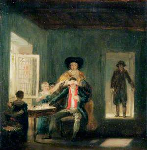 Interior with Couple and Children Playing