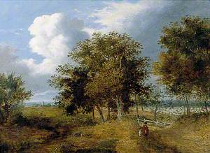 Landscape with a Church in the Distance and Figure in a Red Shawl
