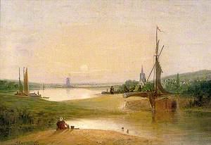 River Scene with Lock
