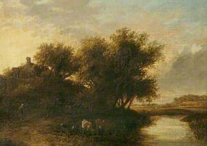 River Scene, Cattle in Foreground