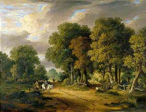 A View through Trees with a Horseman and Other Figures, Cattle and Sheep