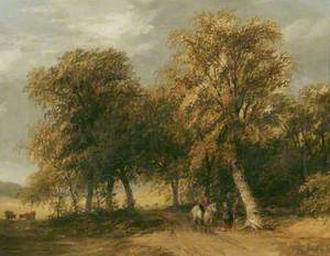 Lane Scene, with Horseman Talking to a Woman