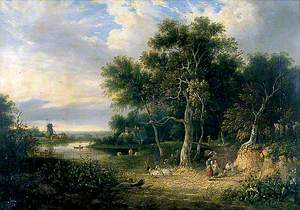 Landscape with a River and Mill, Sheep in Foreground