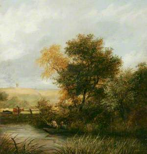 River Scene with Men Fishing from a Boat