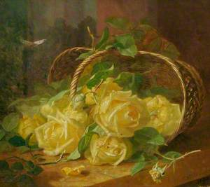 Still Life of Yellow Roses in an Upturned Basket