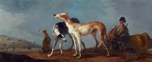 Three Hounds with Sportsman, a Hunt to the Left