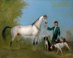Horse with Groom and Hounds