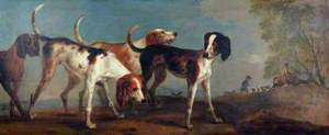 Four Hounds with Huntsmen to the Right