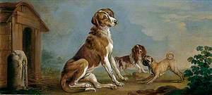 A Hound, a Spaniel and a Pug (A Portrait of a Mastiff)