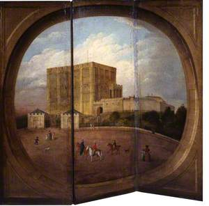 Three-Panel Screen with a View of Norwich Castle, Norfolk