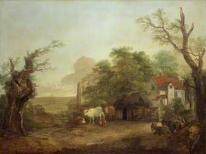 Farmyard with Milkmaid, Cows and Donkeys